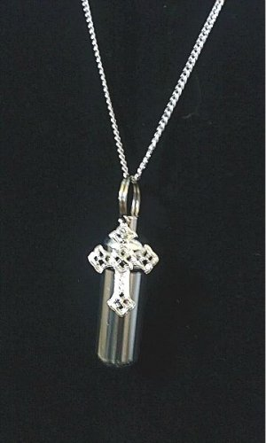 Silver Cross CREMATION URN Jewelry NECKLACE Pendant with Velvet Pouch