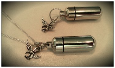 Silver Eagle 2pc.Special Set - Cremation Urn Necklace & Keychain Urn & Pouch Set