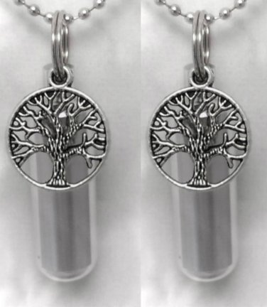 Two New TREE OF LIFE Personal Cremation Urn Necklaces / Keychains