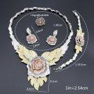 Dubai Gold Color Flower Necklace Earrings Set Fashion Nigerian Wedding African B