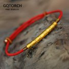 999 Sterling Silver Gold Color Handmade Thin Red String Bracelet For Women Six