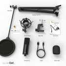 USB Condenser PC  Microphone with Adjustable desktop mic arm &shock mount for