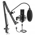 USB Condenser PC  Microphone with Adjustable desktop mic arm &shock mount