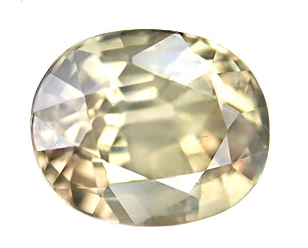 1.72 ct. Sapphire, Unheated, VVS1, Apricot Green, Oval Faceted Natural Gemstone, Burma