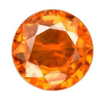 0.81 ct. Sapphire, Orange, VS, Round Diamond Faceted Natural Gemstone, Ceylon