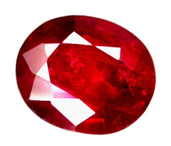 0.98 ct. Ruby, Rich Blood Red, Oval Faceted Natural Gemstone