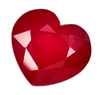 SOLD ? 2.33 ct. Ruby, Glowing Rich Red, Heart Shaped/Faceted Natural Gemstone