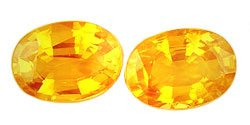 1.17 ct. Sapphires, Yellow Orange, VVS-VS Oval Faceted Gemstones, Ceylon - 1 Pair