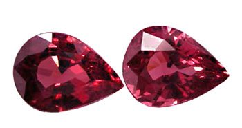SOLD 2.77 ct. Garnet, Red Violet, VVS Pear (Tear Drop) Faceted Untreated Natural Gemstones, 1 Pair