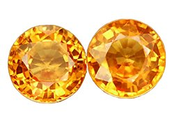 SOLD ? 0.85 ct. Sapphire, Golden Yellow, IF-VVS1 Round Faceted Natural Gemstones - 1 Pair