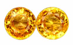 SOLD 0.75 ct. Sapphire, Golden Yellow, IF-VVS1 Round Faceted  Gemstones - 1 Pair