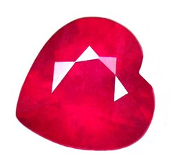 1.04 ct. Ruby, Glowing Red, Heart Shaped Natural Gem