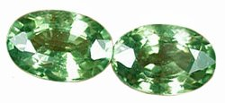 SOLD ? 1.31 ct. Sapphire, Green, VVS Oval Facet, 1 PAIR