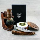 Vintage Style Pure Wood Shaving Kit Cut Throat Razor & Black Badger Hair Brush