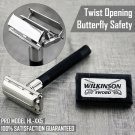 Twist Open Butterfly Safety Razor & FREE Wilkinson Double Edge Blades