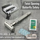Twist Open Butterfly Safety Razor with 5 Blades Classic Wet Shaving Razor