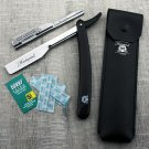 Barber Beard Styling Cut Throat Shaving Razor With Leather Pouch + Free Blade
