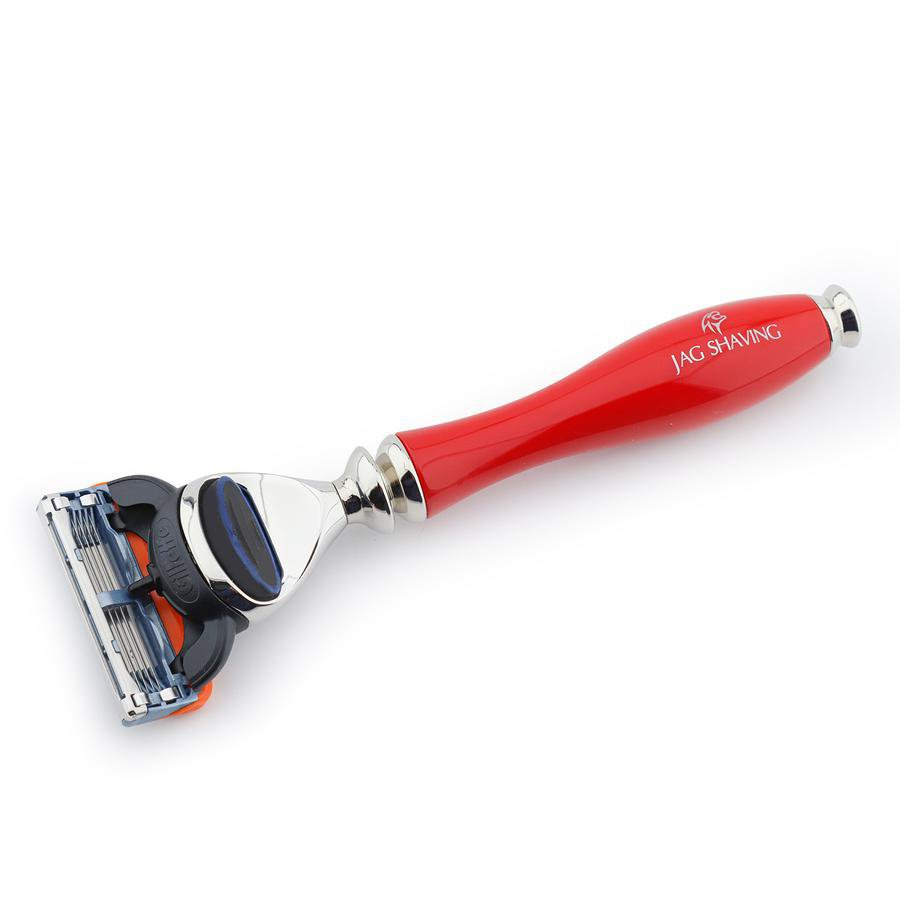 Premium Shiny Red Resin Handle 5 Edge Razor For Perfect Clean Shave