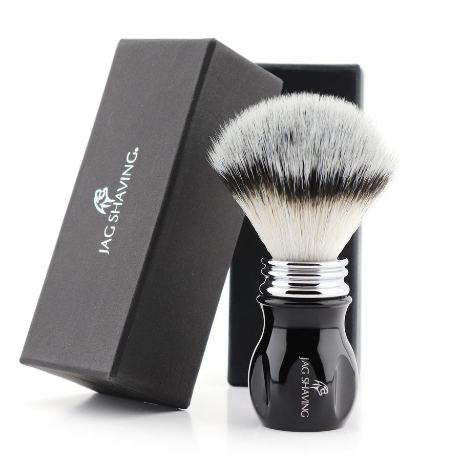 Eco-Friendly Synthetic Hair Bristles Shaving Brush With Black Resin Handle