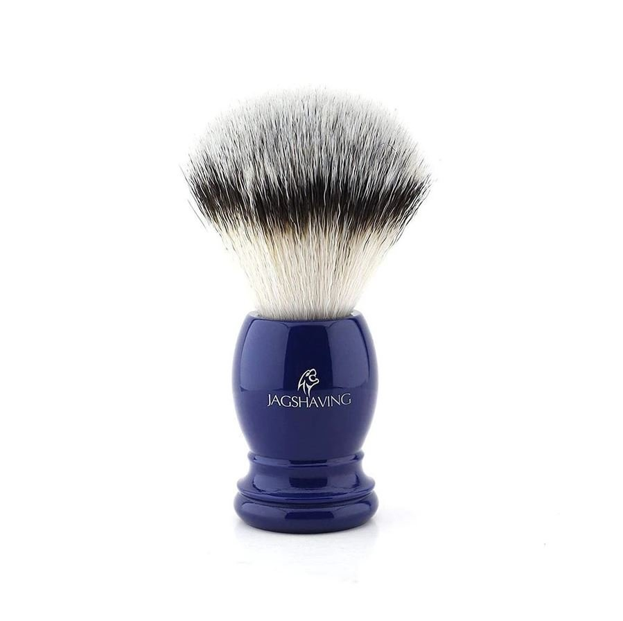 Synthetic Silver Tip Hair Shaving Brush With Blue Resin Handle, Gift For Men