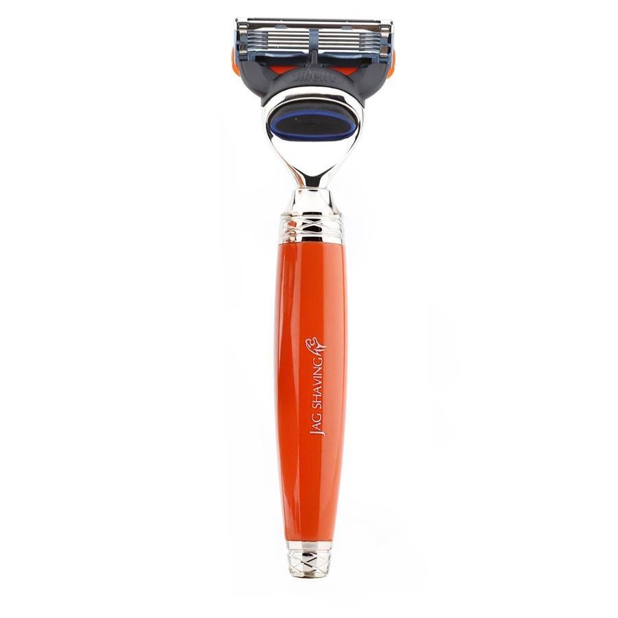 Jag 5 Edge Compatible Razor with Orange Handle for Perfect Clean Shave