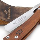 Wooden Handle Straight Razor with Leather Pouch