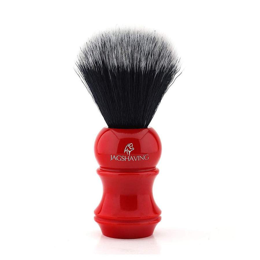Synthetic Black Hair Shaving Brush with Resin Handle in Red Color