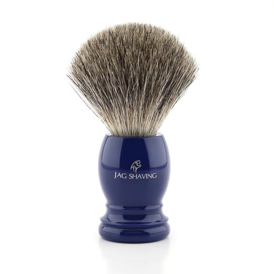 Super Badger Hair Shaving Brush with Blue Resin Handle, Gift for Men