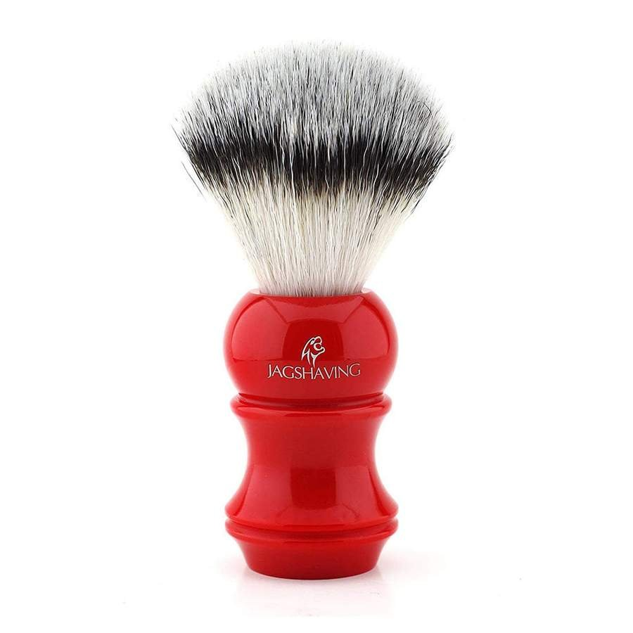 Synthetic Badger Shaving Brush Red Resin Handle Extra Soft Resilient & Vegan