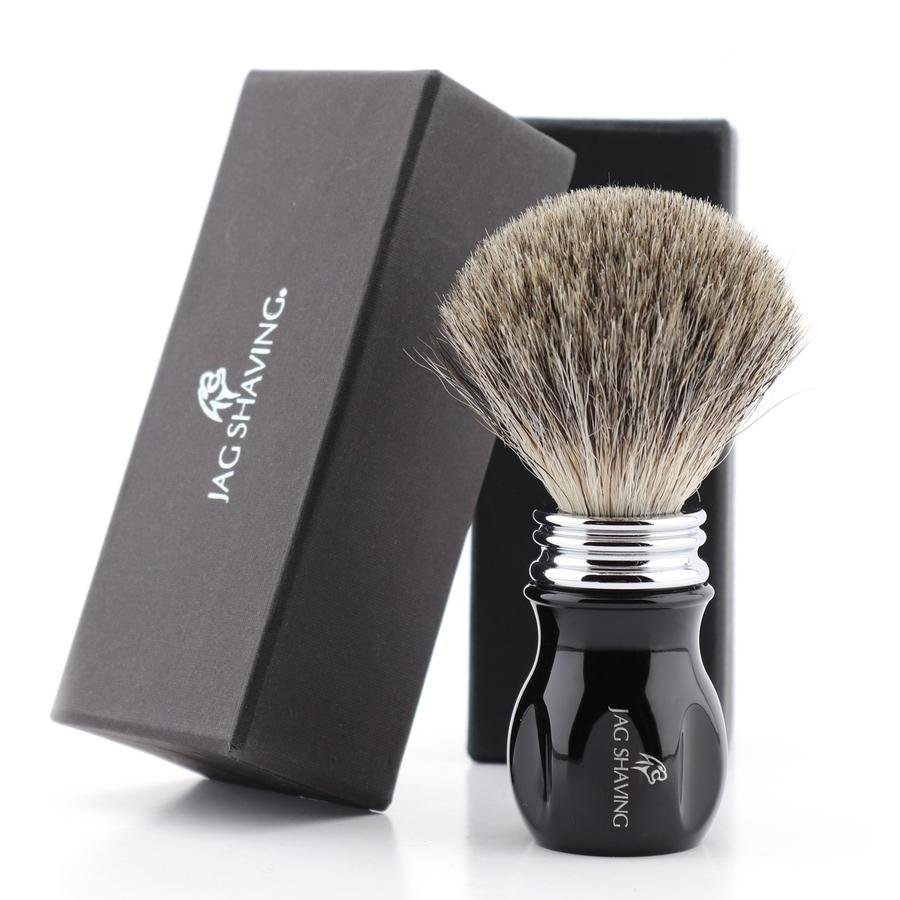 Black Resin Handle Shaving Brush with Super Badger Hair Bristles for Wet Clean Shave