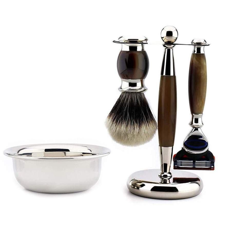 5 Edge Shaving Razor Set With Silver Tip Badger Hair Brush, Best Gift Idea
