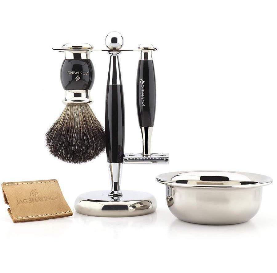 Luxury Black Badger Hair Shaving Brush Set With De Safety Razor
