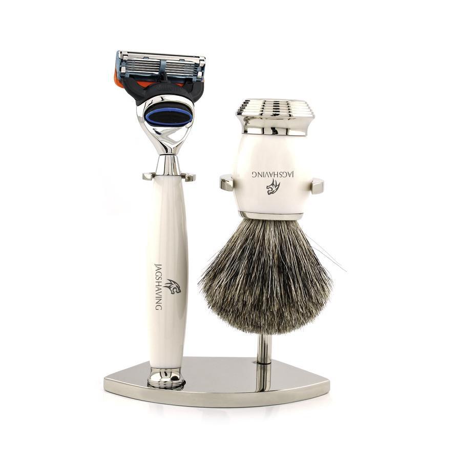 Luxury White Men Shaving Set With Super Badger Hair Brush And 5 Edge Razor