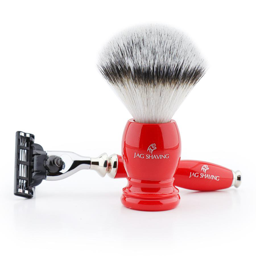 Luxury Red Shaving Gift Set with 3 Edge Razor & Synthetic Hair Brush