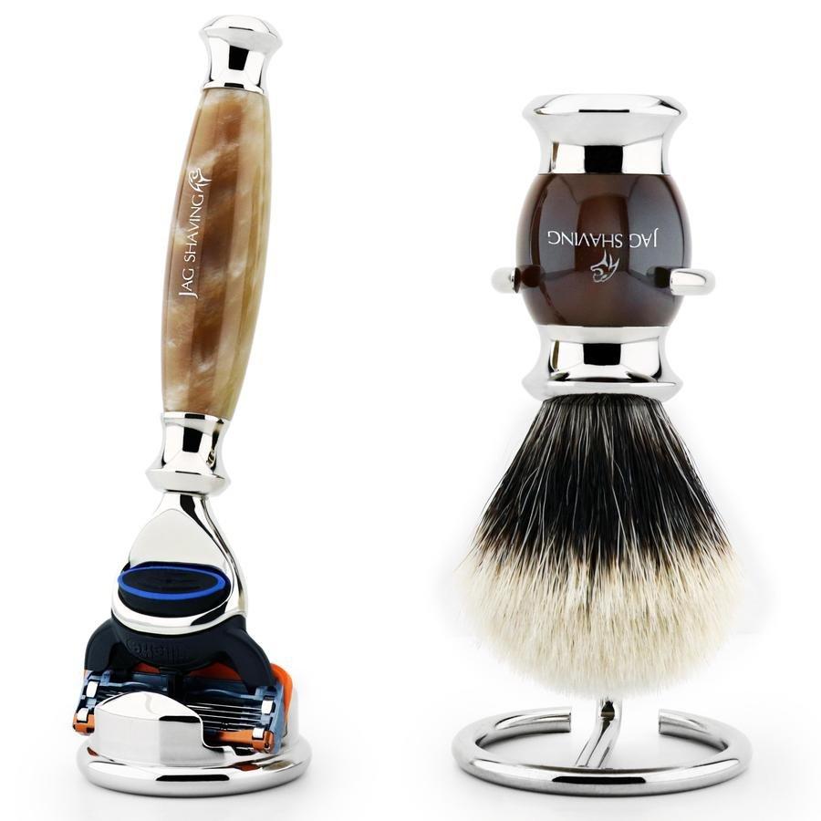 4 PC Premium Quality Shaving Set Luxury 5 Edge Razor and Badger Brush Shaving Kit For Men
