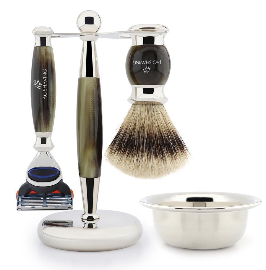 Luxury Silver Tip Badger Hair Brush with 5 Edge Shaving Razor