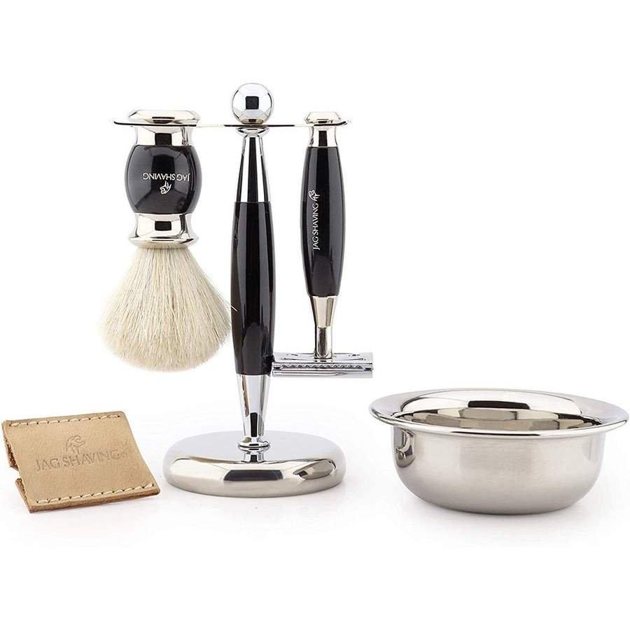 5 PC Classic White Badger Hair Shaving Brush with Black Handle Best Shaving Kit for Men