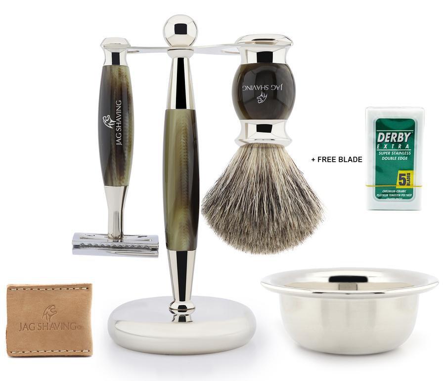 Classic Wet Shaving Kit for Men Shaving Brush Stand Razor Best for Professional Shave