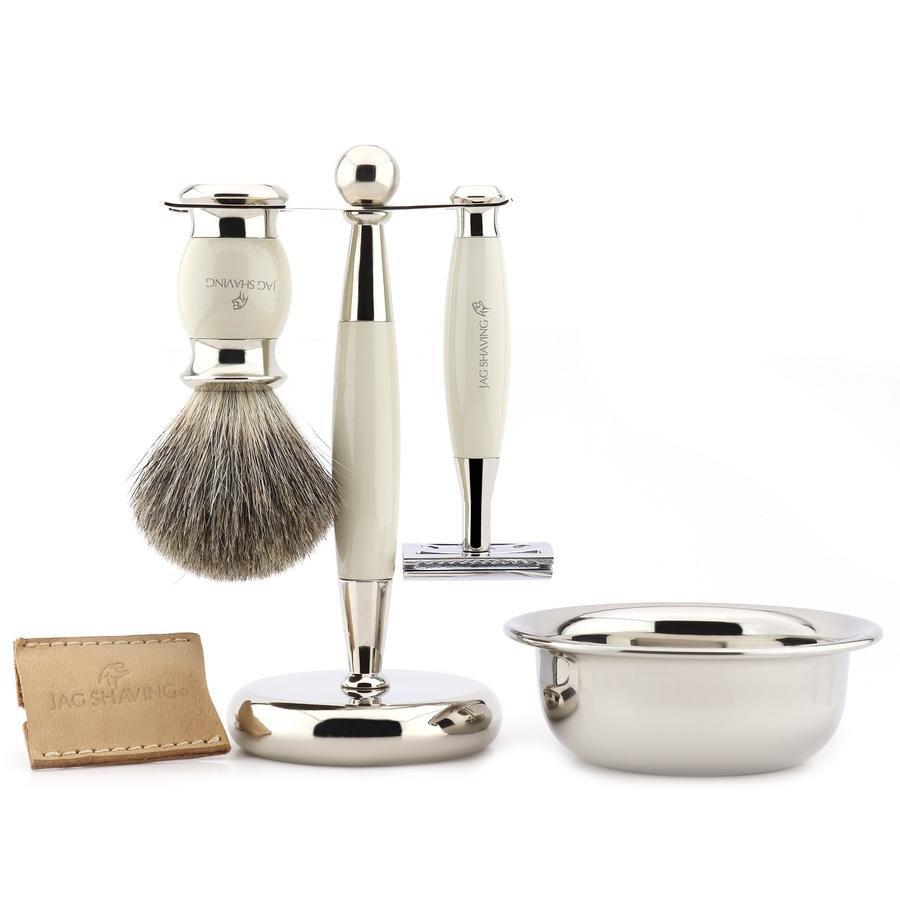 Jag Shaving Premium Quality Gift Shaving Brush Razor Stand Bowl Pouch Set  Shaving Kit for Men Shave