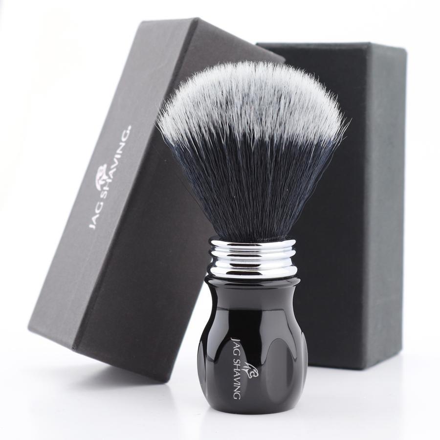Full Black Shaving Brush Black Synthetic Hair & Black Resin Premium Handle