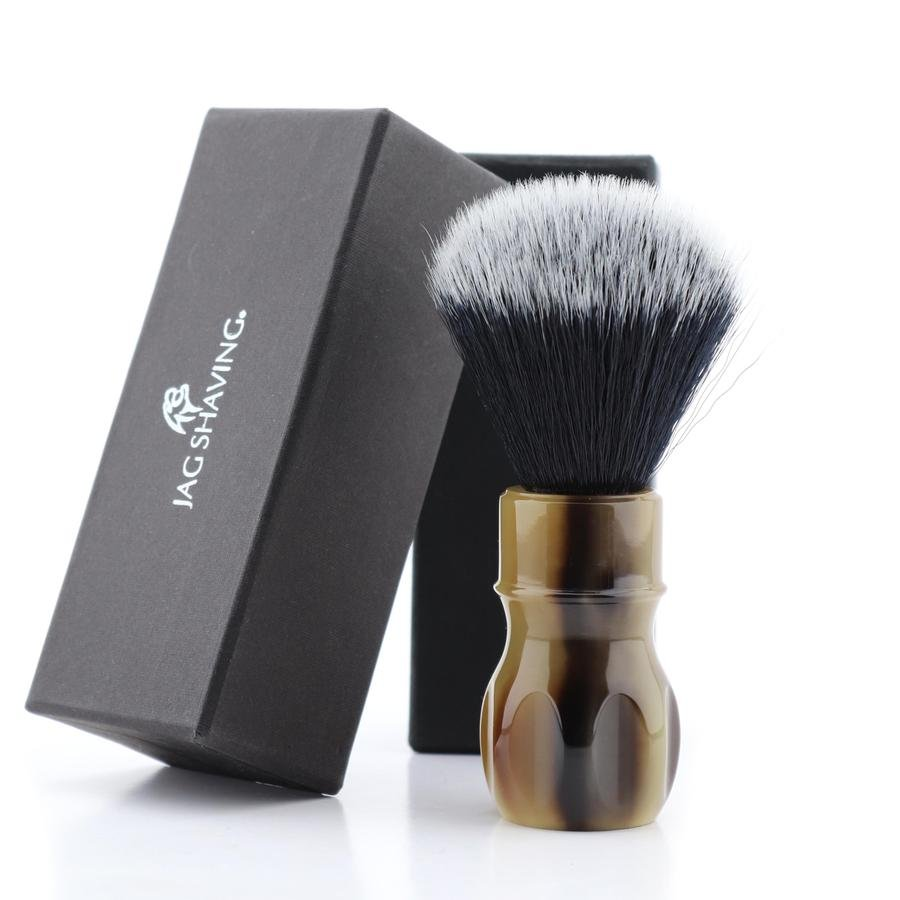 Brown Resin Handle Shaving Brush with Black Synthetic Hairs