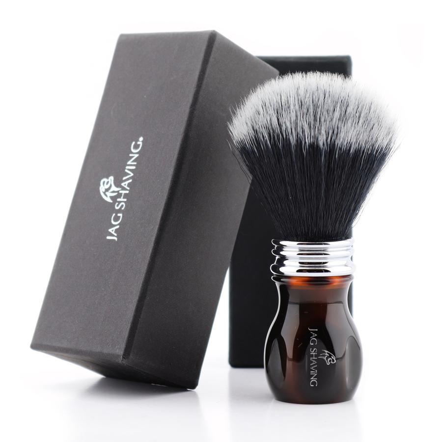 Black Synthetic Hair Shaving Brush with Resin Handle Vegan Cruelty Free Bristles