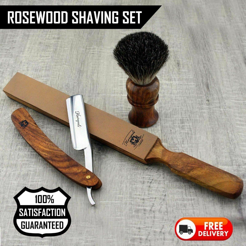 Black Badger Brush & Strop Straight Cut Throat Razor Wet Shaving Wooden Set