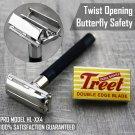 Butterfly Safety Antique Razor 5 Treet Double Edge Blades Classic Shaving Vintage Razor