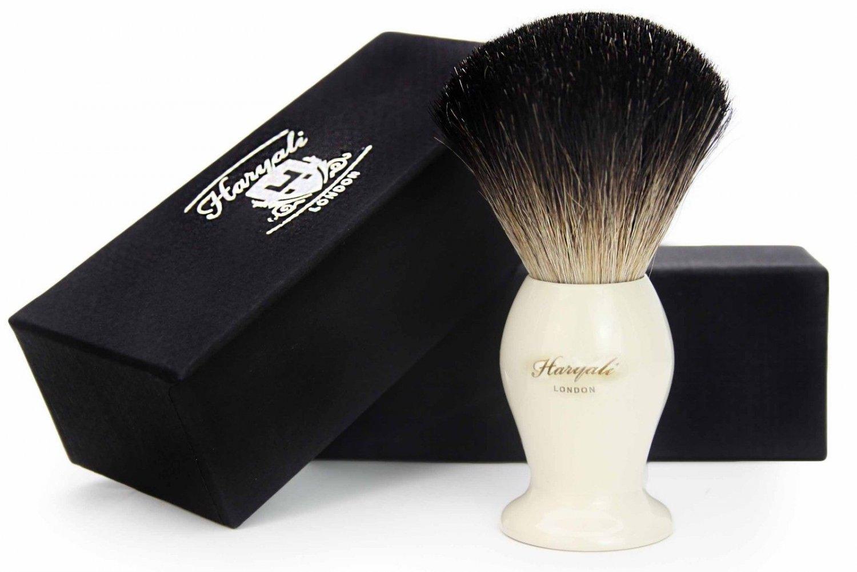 Black Badger Hair Men's Shaving Brush in Ivory Color for Wet Thick Lather Shaving