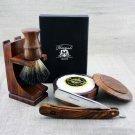 Vintage Style Shaving Set Straight Razor Cut Throat & Pure Black Badgerr Brush