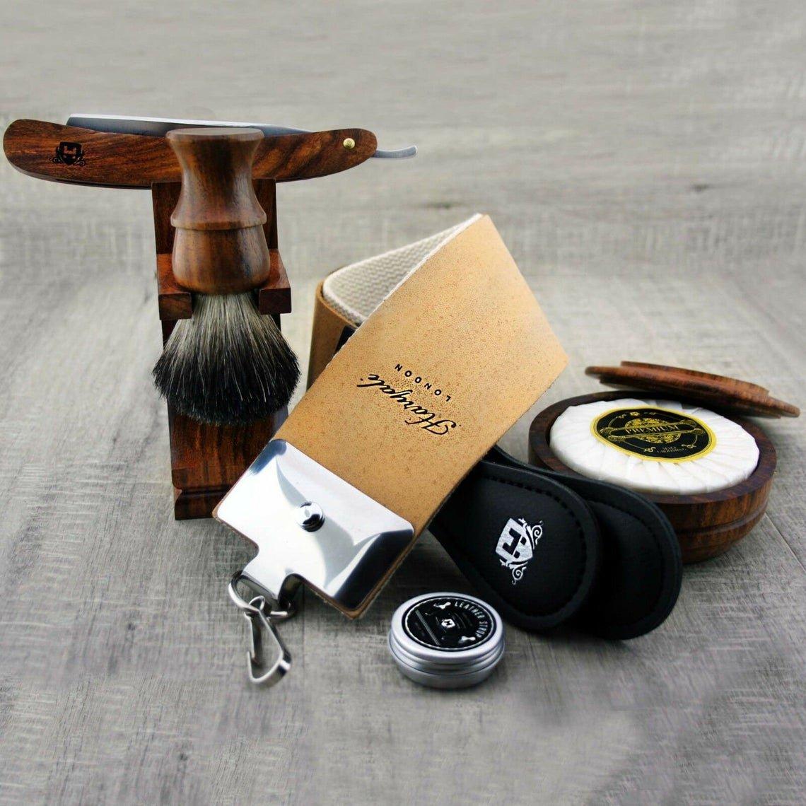 Vintage Wooden Barber Shaving Set Straight Cut Throat Razor Badger Brush Kit Bowl Soap Strop