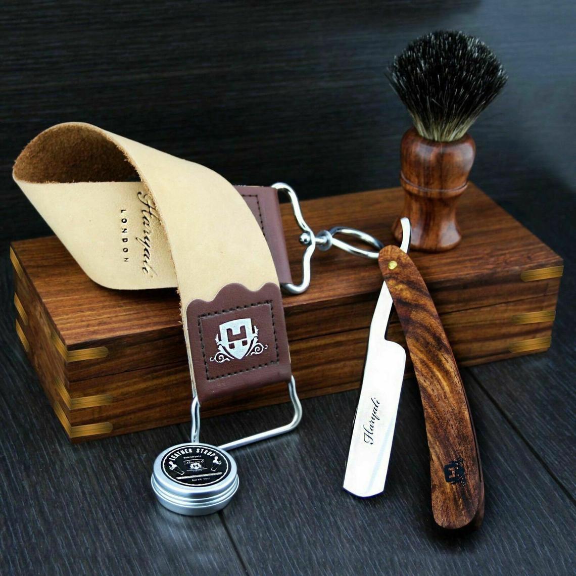 Vintage Barber Salon Cut Throat Razor Set 5 Pieces Luxury Shaving Set For Men Perfect Gift