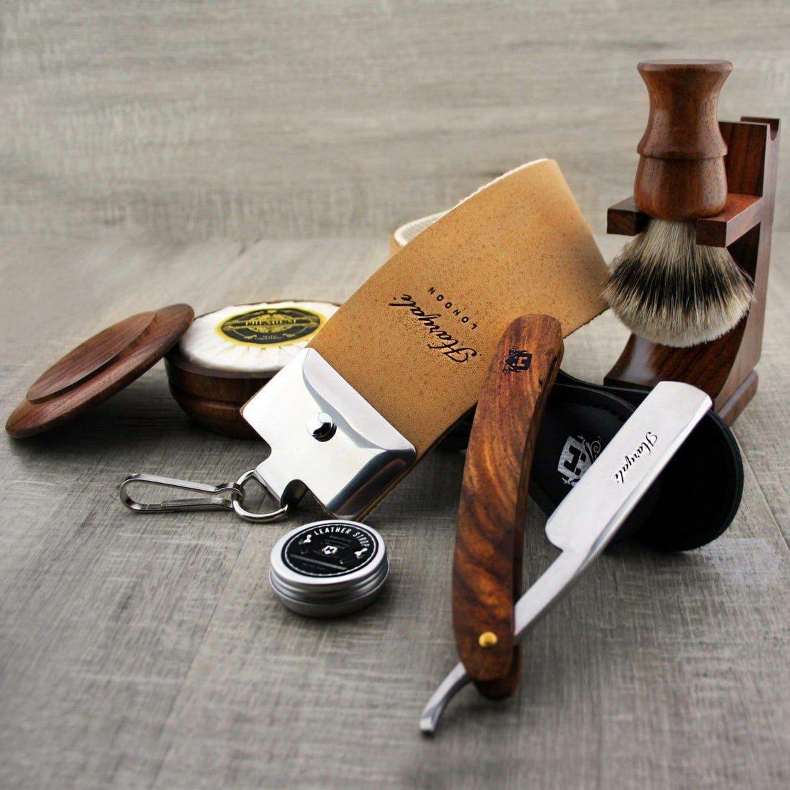 7pc Vintage Shaving Set Straight Cut Throat Razor Silver Tip Brush Men Grooming Wooden Kit