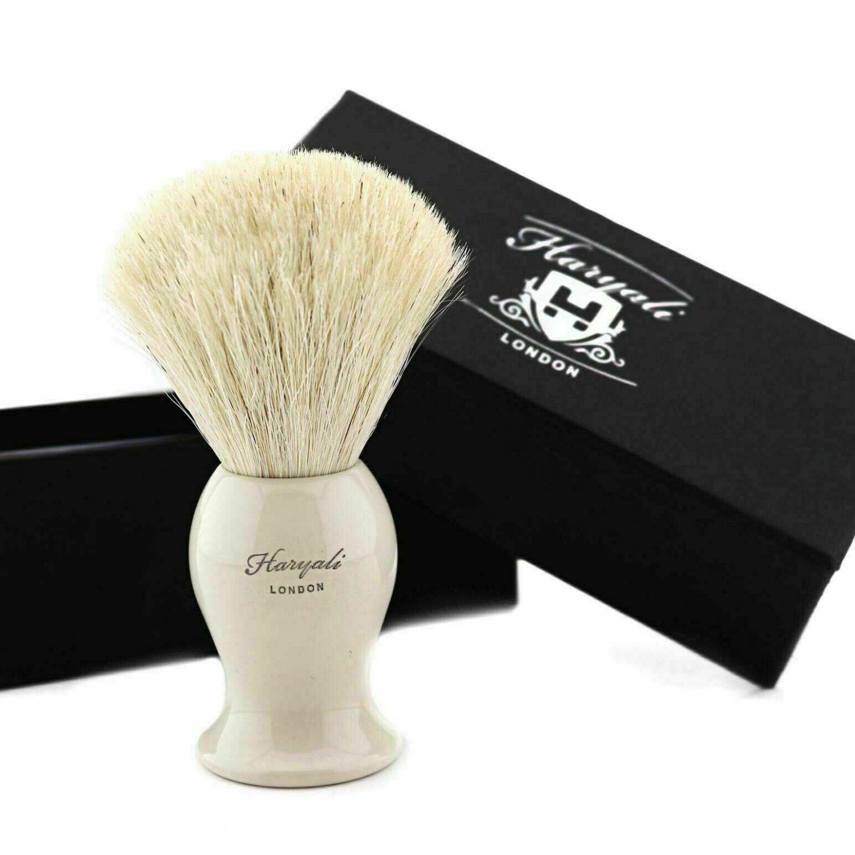 White Badger Shaving Brush 100% Natural High Quality Bristles Men's Beard Care Aluminium Handle